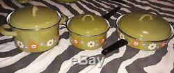 Vintage Moneta Floral Enamelware Batterie De Cuisine, 9 Pièces, 4 Couvercles
