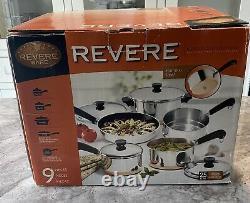 Vintage Nouveau Révere Ware Cuivre Clad Fond Cuisinière Pot Pan 9 Pièces Set Rare