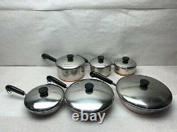 Vintage Revere Ware 1801 Copper Bottom 12 Piece Set 3 Pots 3 Poêles & Couvercles