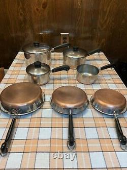 Vintage Revere Ware Cuivre Fond De Cuisine 10 Pièce Lot De Set 4 2 1 Qt 7 8 9 In