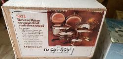 Vintage USA Nos Revere Ware Cuivre Clad Énorme 12 Pièces Set # 3822 Nouveau