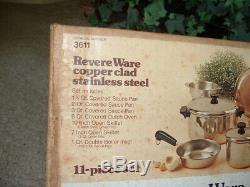 Vintage USA Nos Revere Ware Cuivre Clad Énorme 14 Pièces Set No 3611 Nouveau
