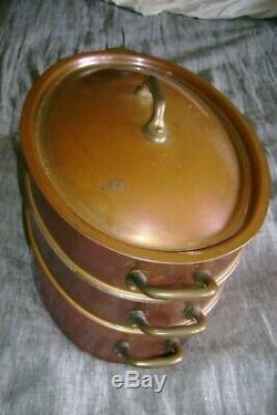Vintage'stl ' Français Cuivre 4 Pièce Vapeur Ovale Set-made In France