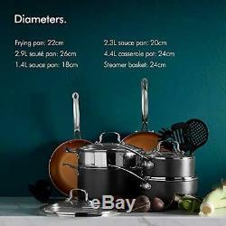 Vonshef 11 Pièces En Cuivre Pan Set Batterie De Cuisine En Aluminium Antiadhésif Avec Casseroles Et U