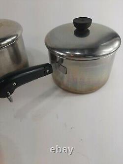 Vtg 10 Piece Lot Set Revere Ware Copper Bottom Cookware Pots Casseroles Avec Couvercles