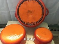 Vtg Descoware Ensemble D'articles De Cuisine En Fonte Orange Flamme 6 Pièces Fabriqué En Belgique