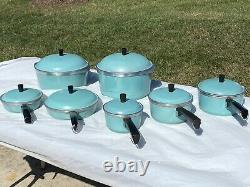 Vtg Du Club Turquoise Aqua Bleu Aluminium 14 Piece Cookware Set Difficile À Trouver