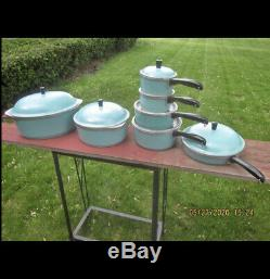 Vtg Du Club Turquoise Aqua Bleu Aluminium 14 Piece Cookware Set Roaster Casseroles Néerlandais