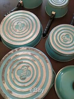 Vtg Du Club Turquoise Aqua Bleu Aluminium 9 Piece Cookware Set Difficile À Trouver