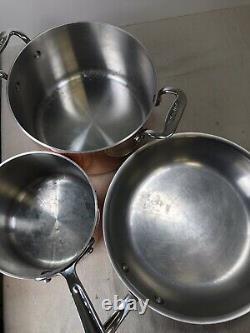 Vtg Ensemble D'articles De Cuisine En Cuivre Plaqué En Acier Inoxydable 5 Pièce 8 Qt 6 Qt 10 Skillet