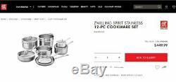 Zwilling J. A. Henckels Esprit 12 Pièces Batterie De Cuisine En Acier Inoxydable Set